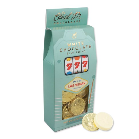 Perfect to give away for any occasion. Grab our foiled Creamy white chocolate coins packaged in our Las Vegas slot box.