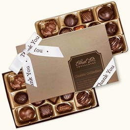 Ethel_M_Chocolates_32_Piece_Double_Layer_Classic_Collection_White_Thank_You_Ribbon_Open_Box_Overhead_View