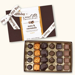 Ethel_M_Chocolates_24_Piece_Single_Layer_Nut_And_Caramel_Assortment_With_White_Happy_Birthday_Ribbon_Open_Box_Overhead_View