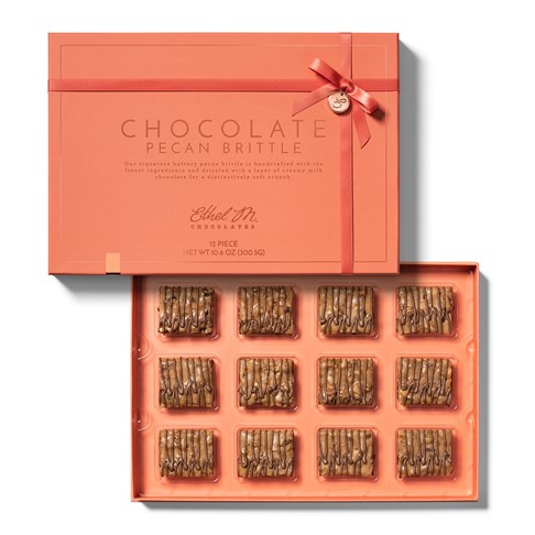 open 12 piece chocolate brittle collection with lid