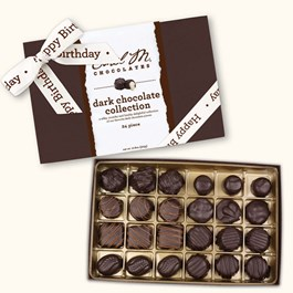 Ethel_M_Chocolates_24_Piece_Single_Layer_Dark_Chocolate_Collection_With_White_Happy_Birthday_Ribbon_Open_box_Overhead_View