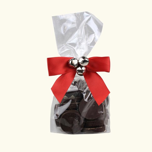 Ethel_M_Chocolates_Dark_Chocolate_Coins_In_A_Clear_Cellophane_Bag_With_Red_Bow_Front_View