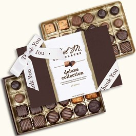 Ethel_M_Chocolates_48_Piece_Double_Layer_Deluxe_Chocolate_Collection_With_White_Thank_You_Ribbon_Open_Box_Overhead_View