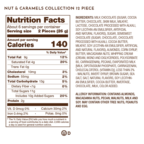 nuts and caramels 12 piece nutrition facts