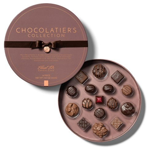 16 piece chocolatiers collection open with lid