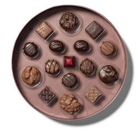 open tray of chocolatier's collection showing chocolate