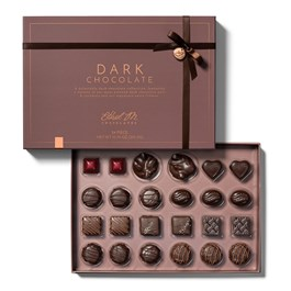 open dark chocolate collection with lid and chocolate tray