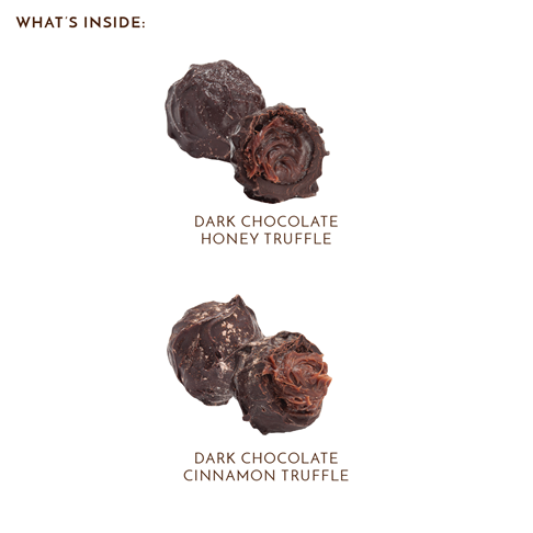 what's inside labeled dark chocolate cinnamon truffle and honey truffle