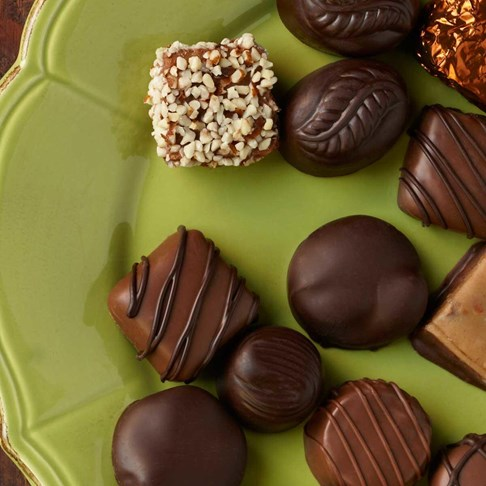 Ethel_M_Chocolates_Assorted_Chocolates_On_Green_Platter_Overhead_View