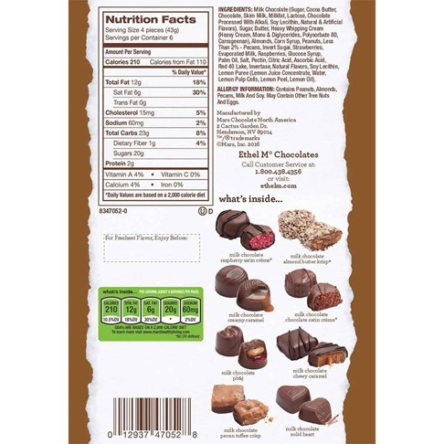 24pc milk chocolate ingredient and nutritional info