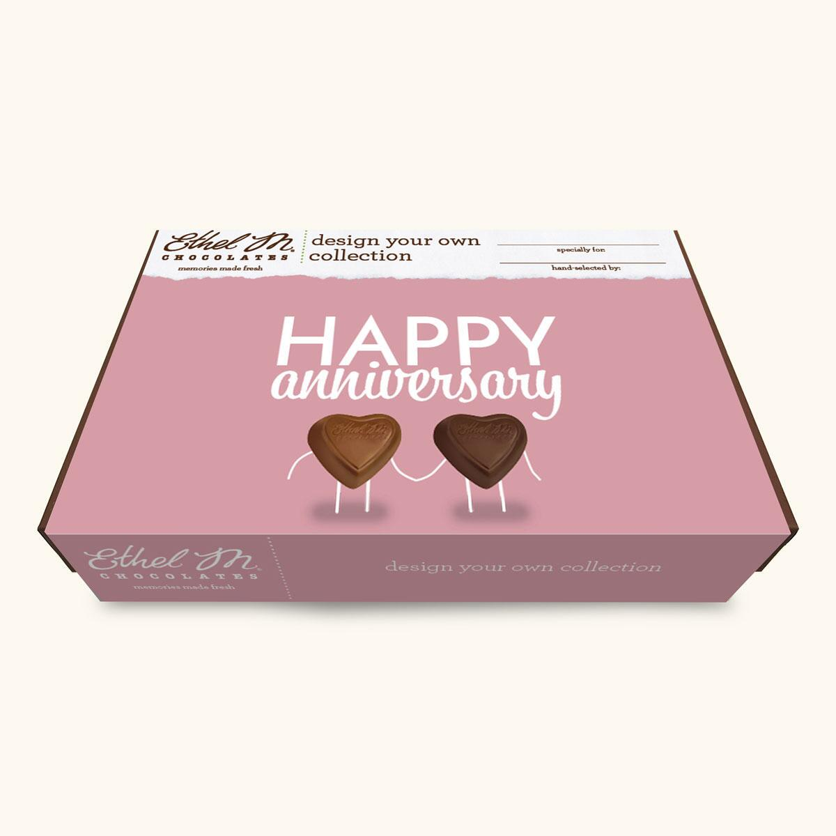 Design Your Own HAPPY ANNIVERSARY Chocolate Assortment, Two-Layer Collection, 40-80 Total Pieces