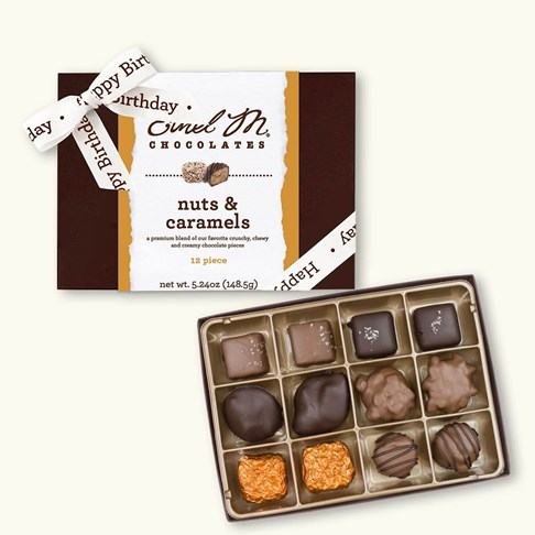 Ethel_M_Chocolates_12_Piece_Single_Layer_Nut_And_Caramel_Collection_With_White_Happy_Birthday_Ribbon_Open_Box_Overhead_View