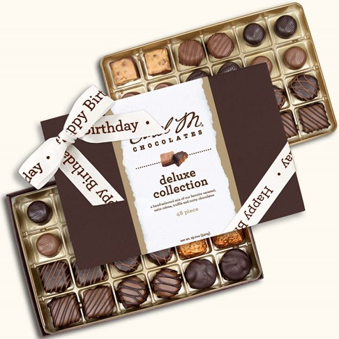 Ethel_M_Chocolates_48_Piece_Double_Layer_Deluxe_Collection_With_White_Happy_Birthday_Ribbon_Open_Box_Overhead_View