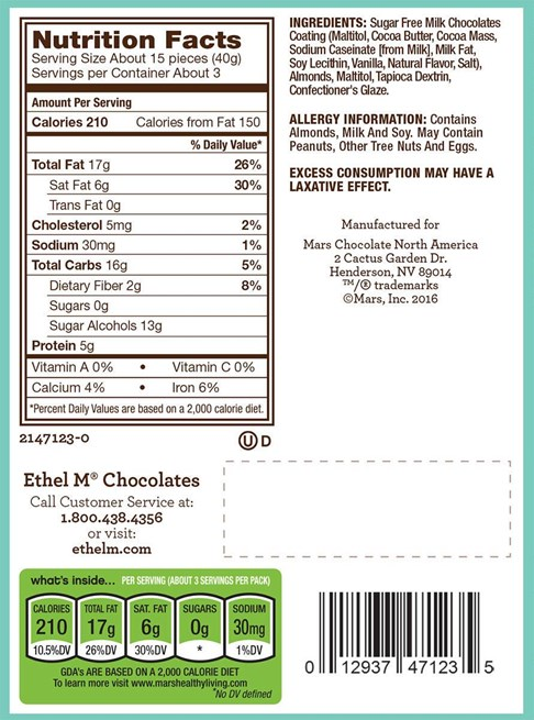 Ethel_M_Chocolates_Sugar Free_Milk_Chocolate_Dipped_Almonds_Nutrition_Label