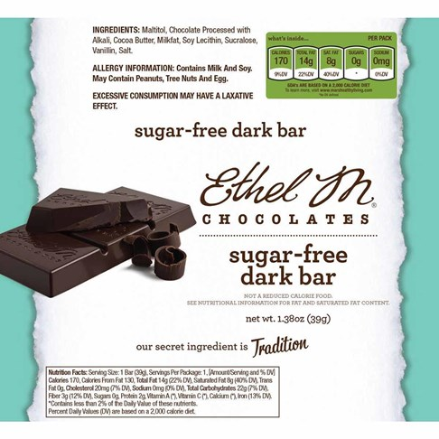 Premium Sugar Free Dark Chocolate Bar Nutrition
