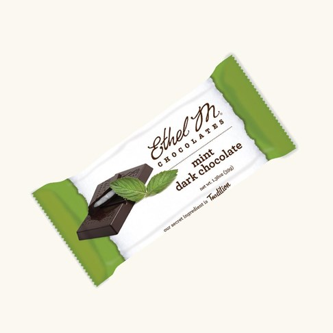 Ethel_M_Chocolates_Premium_Dark Chocolate_Mint_Bar_Individually_Wrapped_Overhead_View