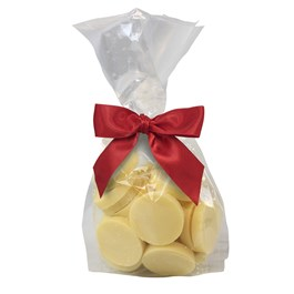 Ethel_M_Chocolates_White_Chocolate_Clear_Cellophane_Bag_Of_Coins_With_Red_Ribbon_Front_View