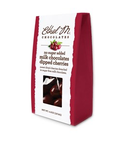 Enjoy and Savor Ethel M Chocolates Sweet Dried Cherries drenched in Sugar-free Milk Chocolate.
