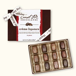 Ethel_M_Chocolates_12_Piece_Single_Layer_Crème_Liqueur_Collection_With_White_Happy_Birthday_Bow_Open_Overhead_View