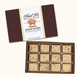 Ethel_M_Chocolates_12_Piece_Single_Layer_Classic_Pecan_Brittle_Collection_Open_Box_Overhead_View