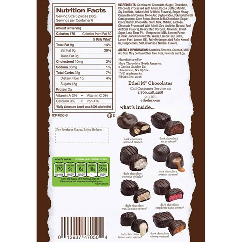 dark chocolate collection ingredients and nutritional info