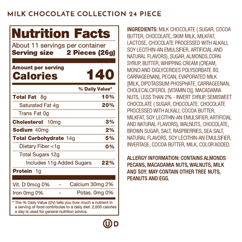 milk chocolate collection nutrition facts