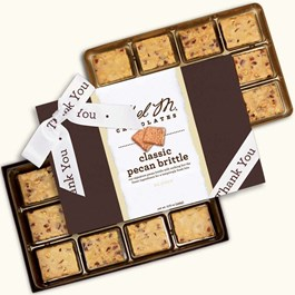 Ethel_M_Chocolates_24_Piece_Double_Layer_Chocolate_Pecan_Brittle_With_White_Thank_You_Ribbon_Open_Box_Overhead_View