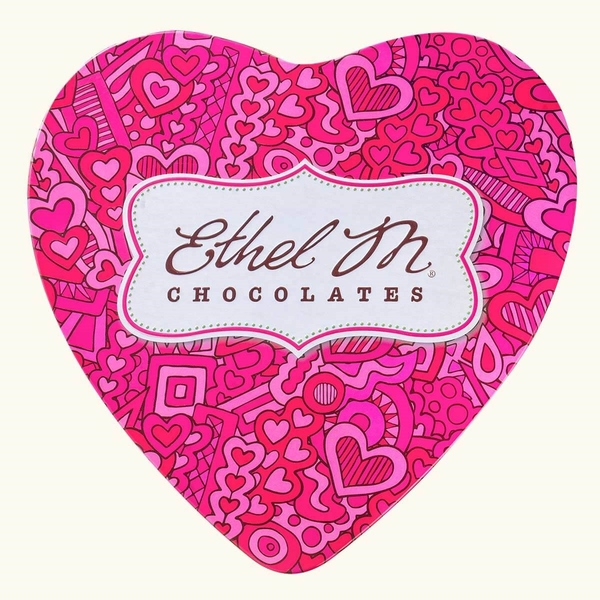 Design Your Own PINK HEART TIN Chocolate Assortment, 15-25 Total Pieces