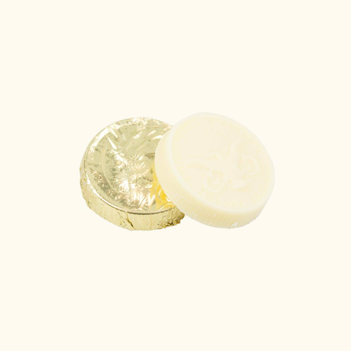 Ethel_M_Chocolates_Solid_White_Chocolate_Coin_Shaped_Individual_Piece_Wrapped_And_Unwrapped_Front_View