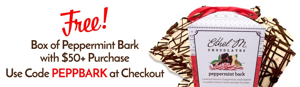 free box of peppermint bark with $50 purchase and code PEPPBARK at checkout