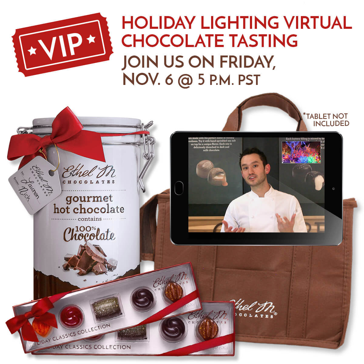 Holiday Lighting Virtual Tasting on November 6 at 5pm pst