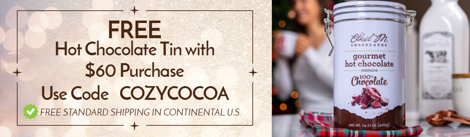 Get a free hot cocoa tin with $60 purchase, use code COZYCOCOA at checkout