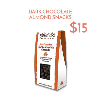 dark chocolate almonds $15usd