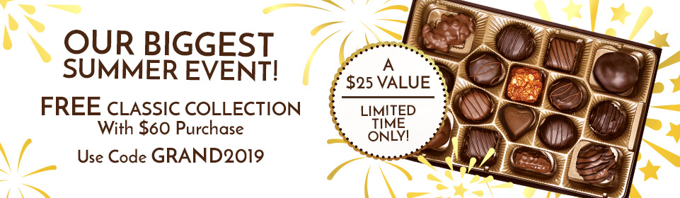 Get a free 16-Piece Classic Collection premium assortment ($25 value) when you spend $60 or more and use code GRAND2019 at checkout.