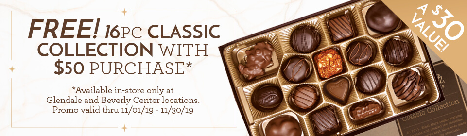 Free classic collection with $50 purchase. Only at Glendale and Beverly Center locations