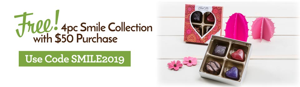 free smile collection with $50 purchase. use code SMILE2019 at checkout