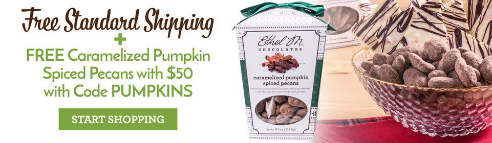 free pumpkin pecans with $50 purchase, use code PUMPKINS