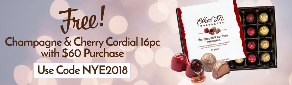 Free Champange and Cherry Cordial 16pc with $60 Purchase, use code NYE2018 at checkout