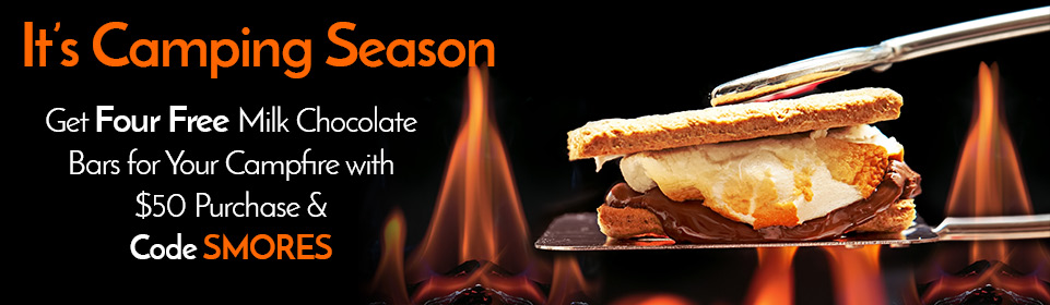 Use code SMORES for 4 FREE Milk Chocolate Bars when you spend $50 or more!