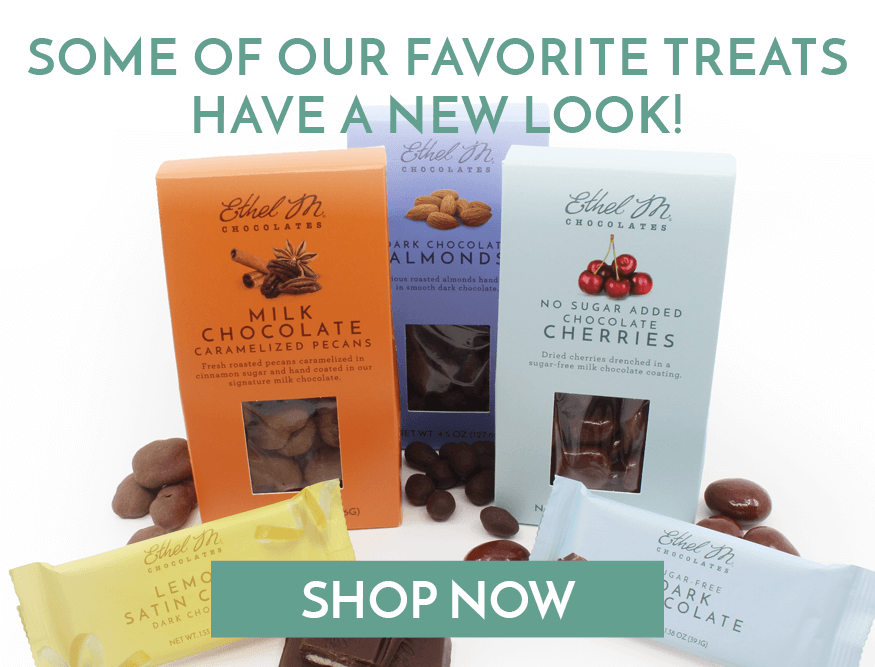 Chocolate bars and panned items have a new look!