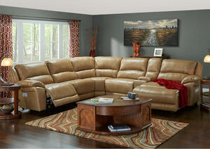 San Mateo 6pc Laf Pwr Leather Sectional Toffee - Armless Chair