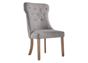 Gray Linen Winged Tufted Chair Gray