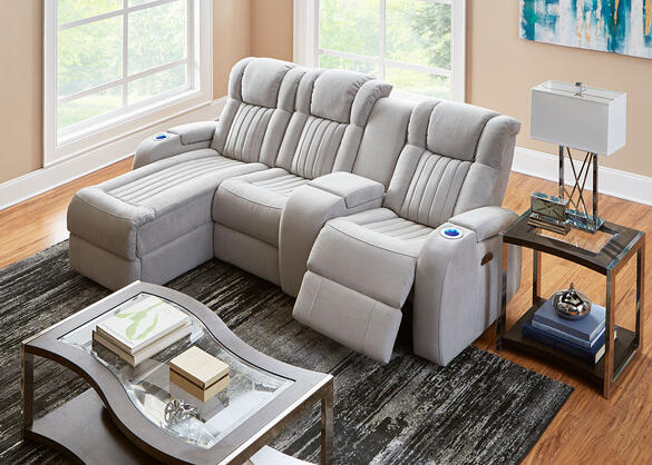 Tesla Fabric 4 Pc. Power Sectional (Reverse)