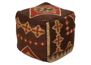 Woven Brown Pouf Brown