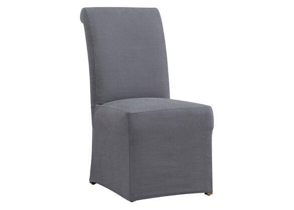 Richland Rolled Back Dining Chair w/Gray Slipcover