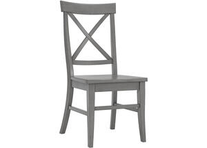 Gray Finish X Back Side Chair Gray