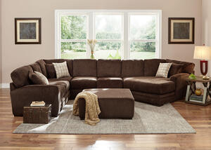 Easton Chocolate 3 Pc. Sectional w/Cuddler Chaise