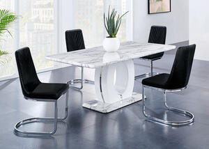 Rossi 7 Pc. Dinette w/Black Side Chairs