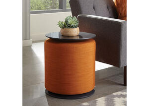 Orange and Grey Accent Table and Ottoman by Scott Living