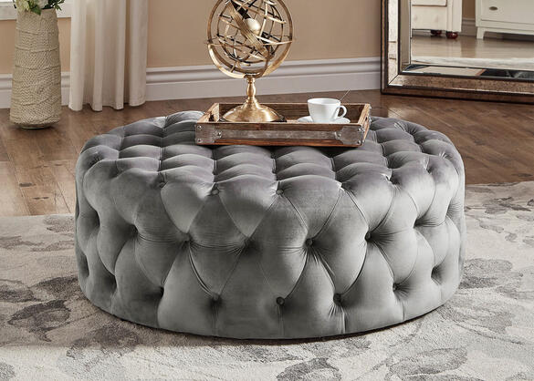 Barrington V Rnd Cktl Ottoman Gray